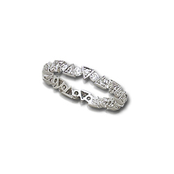 Triangles and Circles White Gold Diamond Ring Guard