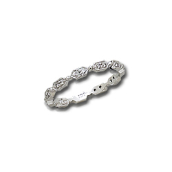 Pave Hexagonal White Gold Eternity Band