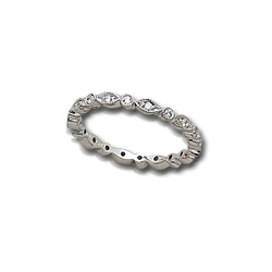 1/4 Carat White Gold Diamond Anniversary Band Antique Style