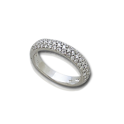 3/4 Carat White Gold Pave Diamond Ring