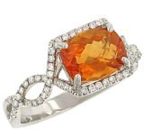 14 Kt White Gold, Diamond and Checkerboard Emerald Cut Citrine Ring