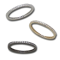 Diamond Stackable Diamond Bands in Yellow White and Black Rhodium Gold