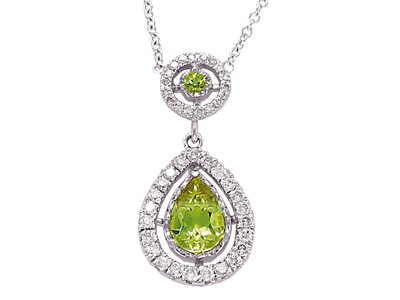 14K Gold Prong Set Diamond and Peridot Pear Shape Tear Drop Necklace