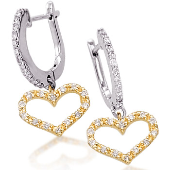 Yellow and White Gold Diamond Heart Earrings
