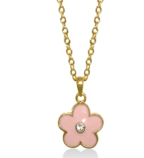 Pink Enamel Flower Pendant for Little Girls by Lauren G Adams