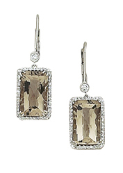 14K Smokey Topaz Emerald-cut Diamond Earrings