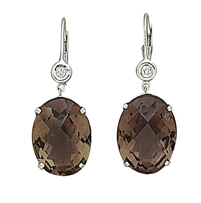 Four-prong Smokey Topaz Diamond Earrings