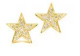 Yellow Gold  Star Earrings With Diamonds