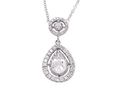 14K White Gold Prong Set Diamond and White Topaz Tear Pear Shape Drop Necklace