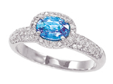 3/4 Carat 14K White Gold  Blue Topaz and Diamond Ring