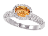 3/4 Carat 14K White Gold Citrine and Diamond Ring