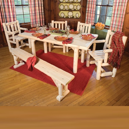 Rustic Natural Cedar Solid Top Dining Table