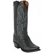 Lucchese 1883 Men's Black Snip Toe Full Quill Ostrich Exotic Western