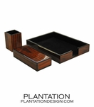 Lacquered Desk Set w/ Letter Tray | Rosewood