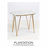Harris Side Table | Gold Leaf & White Marble