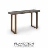 Backbone Faux Shagreen Console | Grey