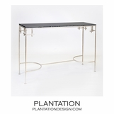 Noelle Iron Console | Silver & Black Marble