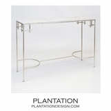 Noelle Iron Console | Silver & White Marble