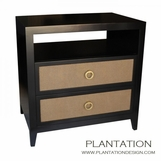 Fabric Front Side Table | 2-Drawer