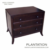 Reed Side Table | 3-Drawer