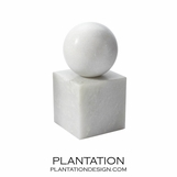 Presley Marble Bookends | White