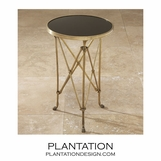 Normandie Round Table | Brass & Black Granite