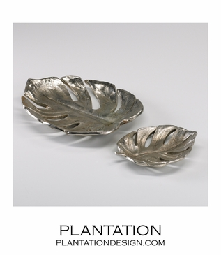 Java Nickel Leaf Trays Set