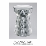 Textured Cone Ceramic Stool | Chrome