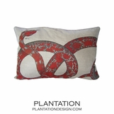 Serpent Linen Pillow | Red