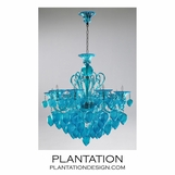 Ryan Glass Chandelier | Blue