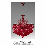 Ryan Glass Chandelier | Red