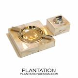 Horn Ashtray & Lighter Set