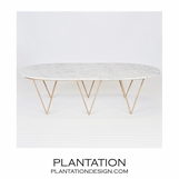 Saber Gold Coffee Table | White Marble