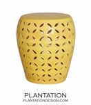 Trellis Ceramic Stools | Yellow