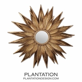 Sunflower Leaves Mirror | Antiqued Gold