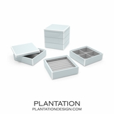 Lacquer Stacked Jewelry Box | Icy Blue