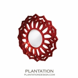 Metallic Round Mirror | Red