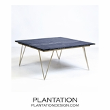 Harris Coffee Table | Silver Leaf & Black Marble