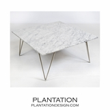 Harris Coffee Table | Silver Leaf & White Marble