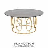 Mullin Gold Coffee Table | Black Marble