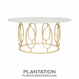 Mullin Gold Coffee Table | White Marble