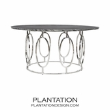 Mullin Nickel Coffee Table | Black Marble
