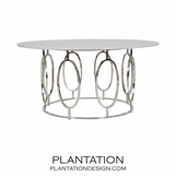 Mullin Nickel Coffee Table | White Marble