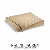 Cabled Cashmere Throw | Heather Camel