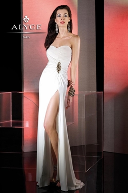 Alyce Ivory Strapless Gown 35493