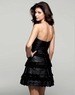Clarisse Short Black Leather Strapless Gown 2056