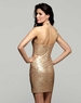 Classic Clarisse One Shoulder Gold Sequin Gown 2043