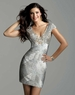 Clarisse Short Silver Sequin Gown 2038