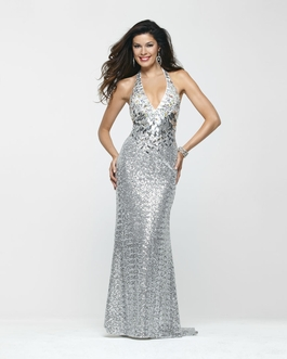 Clarisse Silver Sequin Halter Long Prom Gown 2168