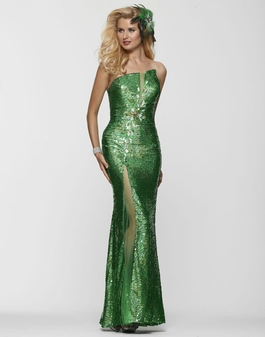 Clarisse Strapless Emerald Green Sequin Long Prom Dress 2152